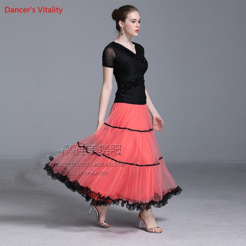 2018 New Ballroom Dance Suit Adult Elastic Ice Silk Tops+Gauze Skirt 2Pcs Set For Women Ballroom Waltz Stage Performance Clothes