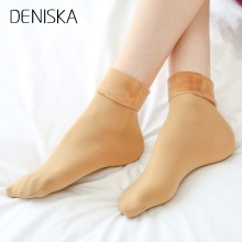 DENISKA 1Pair Winter Women Warm Socks Hosiery Thicken Sock Wool Home Calcetines Snow Boots Cotton Socks Female Velvet Half-hos