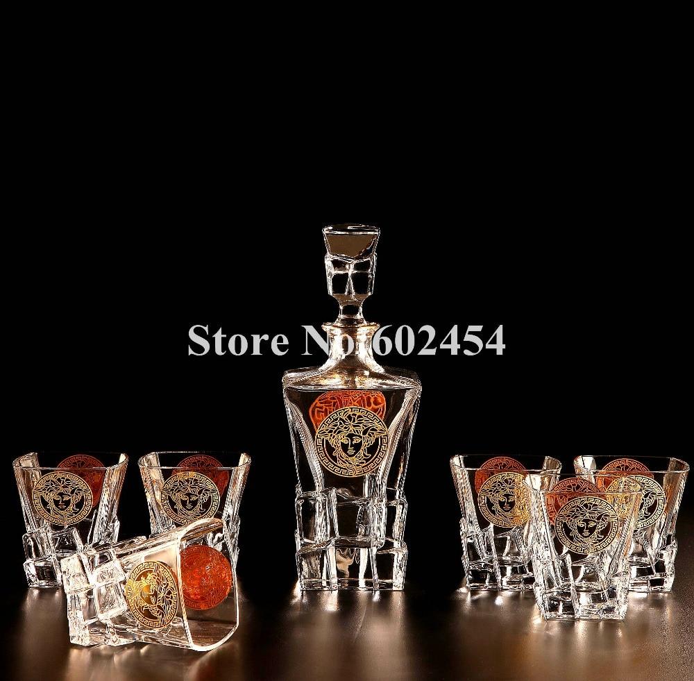 Luxo cristal copo de vinho copo de uísque de vidro bar garrafa conjuntos de  serviço para 6 presentes de aquecimento da casa 069d893bfe2