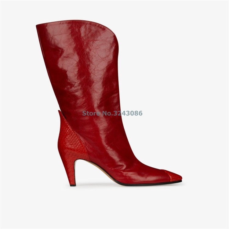 Vermelho PU Em Relevo Design Gato Chelsea Calcanhar Apontado Botas de Camurça PU Patchwork Moda Meados de Bezerro Botas Frente V Profundo Sexy botas