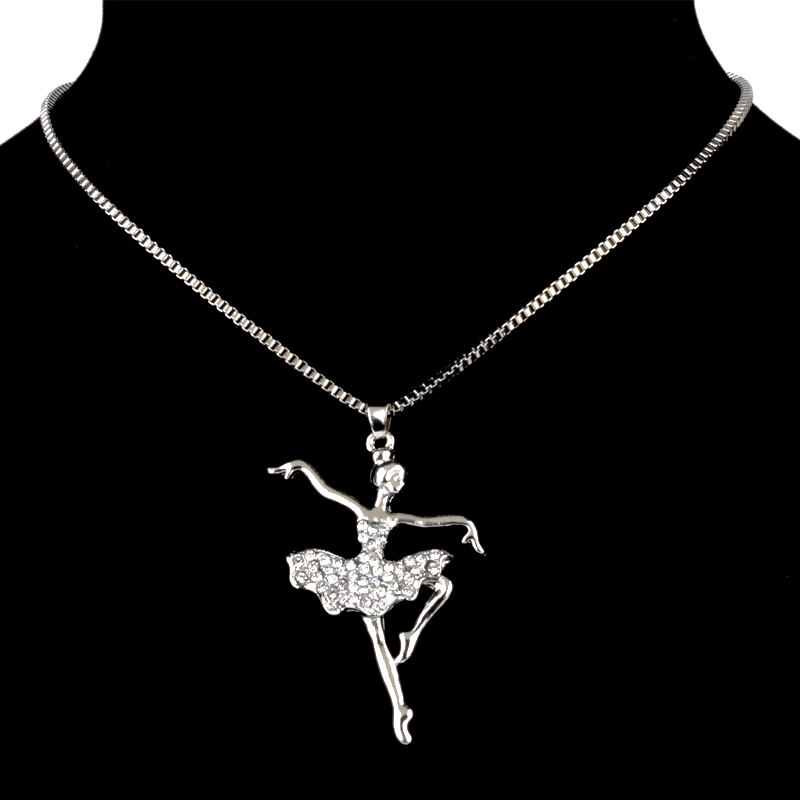 Cute Ballet Dance Girl Design Fashion Women Charming Crystal Chain Necklace Long Chain necklace Gift