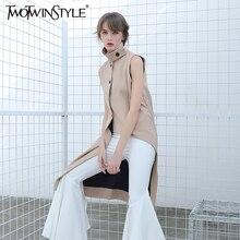 Twotwinstyle женский жилет без рукавов кардиган длинное пальто куртка для Для женщин Асимметричный одежда корейская мода лето-осень 2017