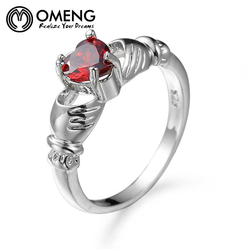 OMENG Shiny Ring Red Garnet Women Charming Engagement Jewelry Silver Filled Promise Rings Bijoux Femme Ring OJZ089
