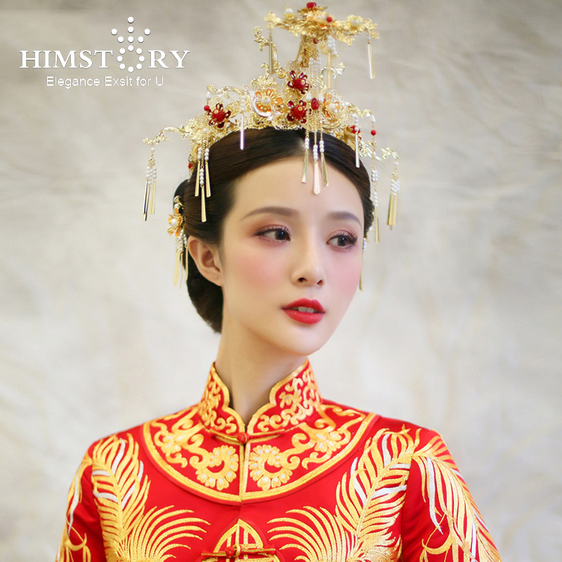 HIMSTORY Traditional Chinese Wedding Bride Hair Tiaras Hanfu Vintage Costume Hair Accessory Bride Prinecess Hair Accessories 00009 red gold bride wedding hair tiaras ancient chinese empress hair piece