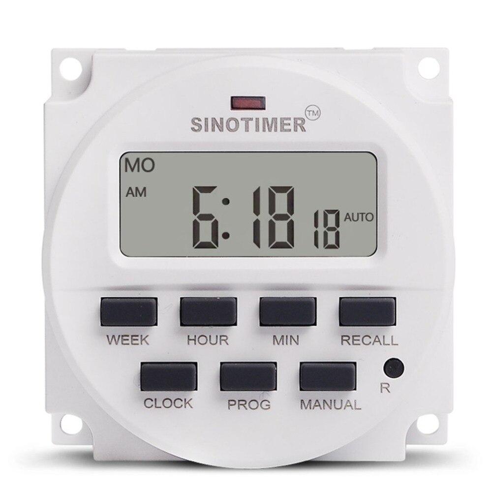 SINOTIMER 220V AC Semanal 7 Dias Digital Programável Tempo Interruptor do Relé de Controle do Temporizador Din Rail Mount para Aparelho Elétrico