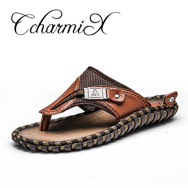 Genuine Leather Men Casual Summer Slippers free shipping fast delivery 7ipfFX5Sg