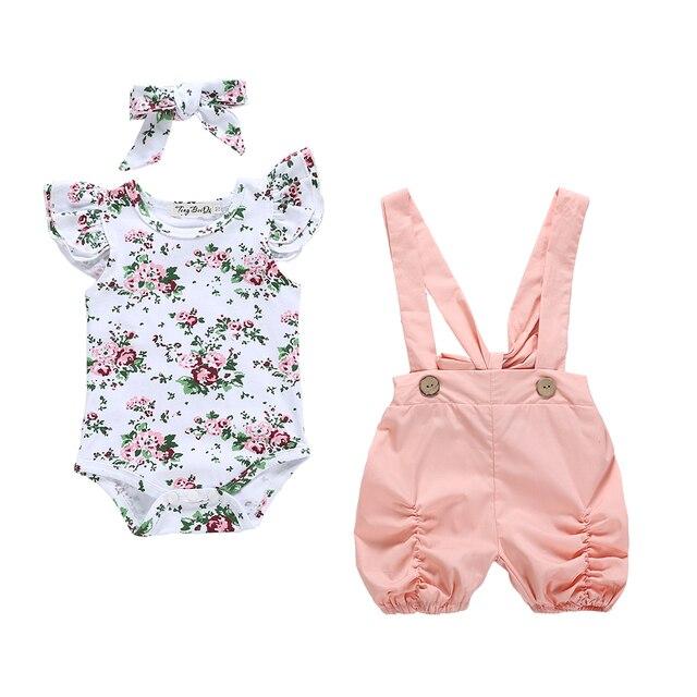 Bebê recém-nascido Meninas Infantis Roupas Define Babados Romper Floral Shorts Calças Flor Bonito Conjunto de Roupas Macacão Sunsuit