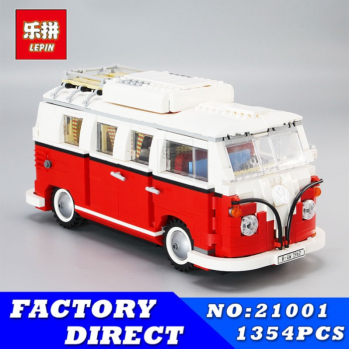 LEPIN 1354pcs 21001 Technic Series Creator Volkswagen T1 Camper Van Model Building Blocks Bricks Toys for Children Gifts 10220 telecool led light building blocks toy only light set for creator series the t1 camper van model lepin 21001 and brand 10220
