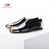 Jeder schuh Новый Черный и белый Лакированная кожа мужская обувь ручной работы Вечерние и свадебные Мужские модельные туфли Большие размеры муж