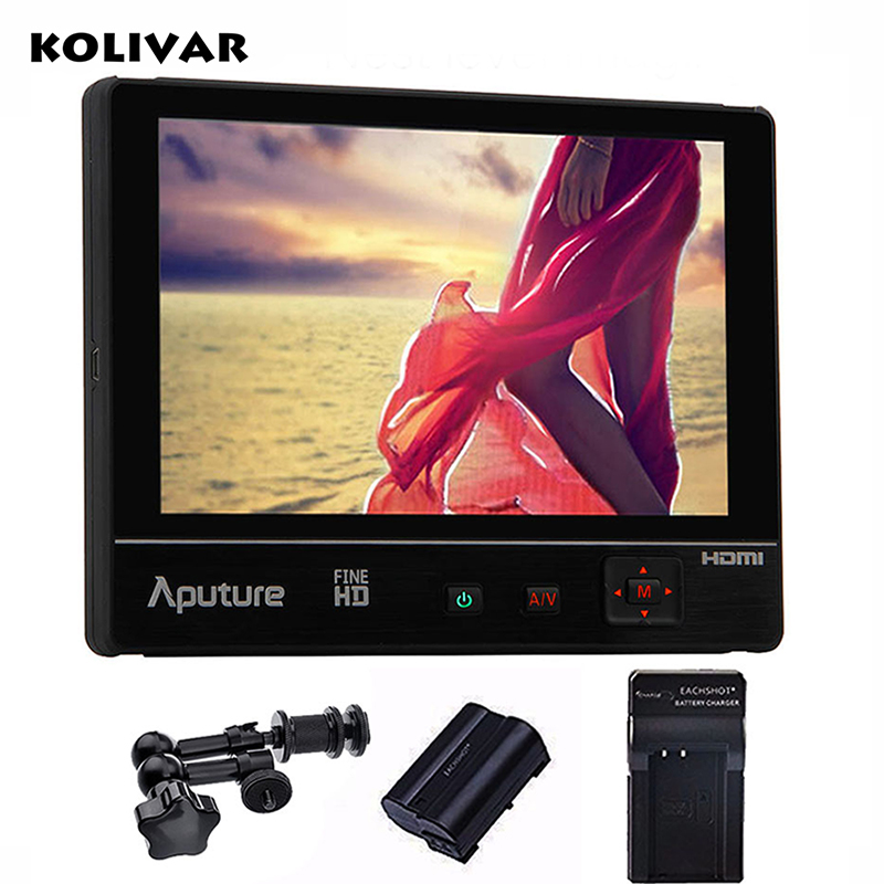 KOLIVAR Aputure VS-2 Kit FineHD 7 HD 1920x1200 LCD Field Monitor HDMI YPbPr AV for Canon Sony Nikon GH4 DSLR Camera Camcorder aputure vs 5 7 inch sdi hdmi camera field monitor with rgb waveform vectorscope histogram zebra false color to better monitor