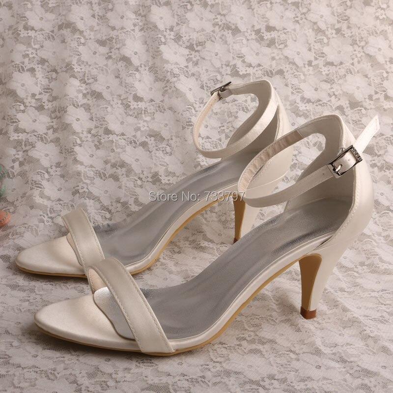 ФОТО Custom Handmade Cone Heel Dressy Wedding Sandals Ivory Satin Dropship