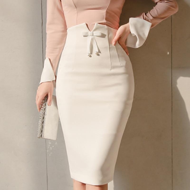 Women Fashion Skirt 2018 New Bowtie Empire Office Ladies