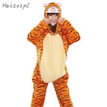 TIGGER Pajama взрослый Onesie женский тигр косплей костюм Животное Пижама  фланелевая теплая мультяшная Вечеринка Kigurumi Милый .. 96edc07b43a9c