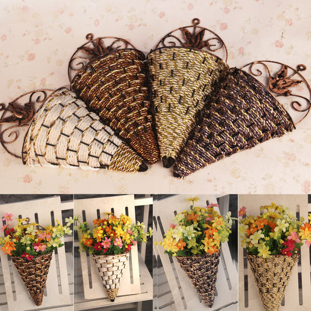 Rattan Wall Hanging Wall Mounted Vase For Artificial Flowers Plants