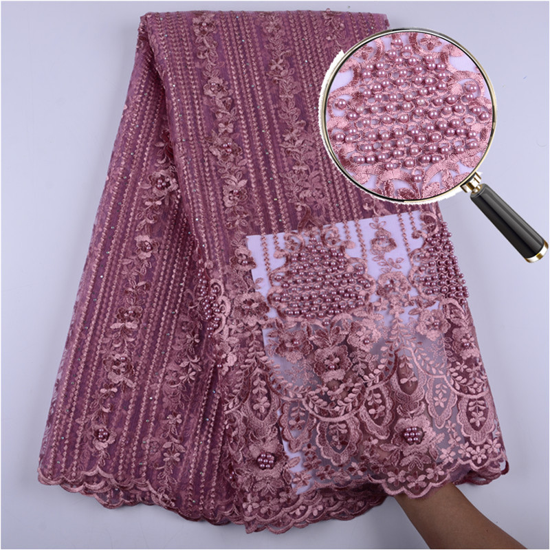 New Design Onion African Mesh Lace Fabric High Quality Nigerian Tulle Lace French Net Lace With Beads And Stones For Dress S1399