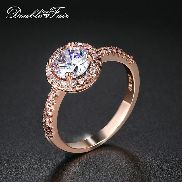 Double Fair Brand Cubic Zirconia Engagement/Wedding Rings Silver/Rose Gold Color Fashion CZ Stone Jewelry For Women Anel DFR319M