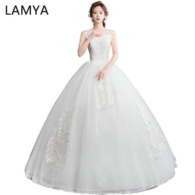 f8c97a736b US $45.49 35% OFF|LAMYA Princess Lace With Pearls Wedding Dresses Vintage  Sexy V Neck Wedding Dress Plus Size Bridal Gown vestido de noiva-in Wedding  ...