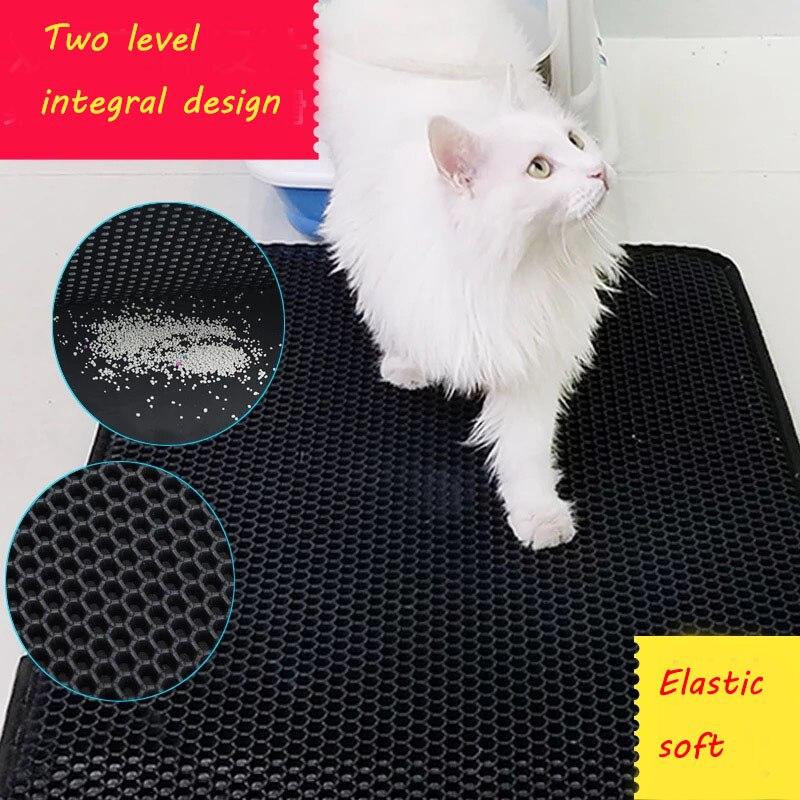 66*57CM Non slip EVA high elastic Cat Litter Mat Household Pet Litter Trapper Catcher Mat Black Protect your cat