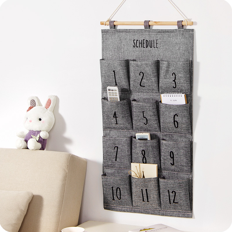 Multi functional 8 - 12 pockets hanging storage bag door behind wall mounted home sundries closet organizer bags.