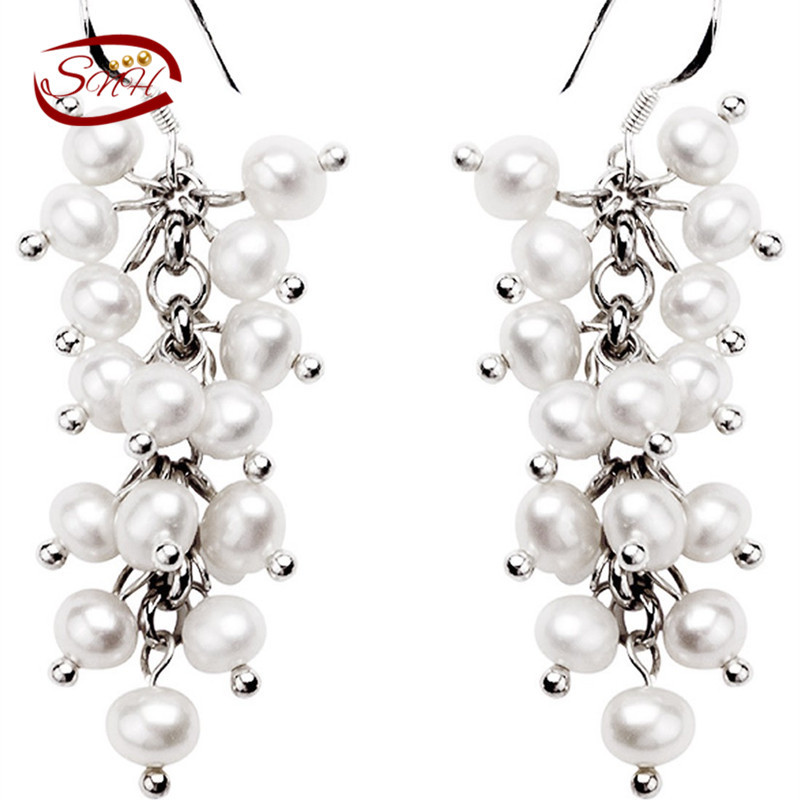 SNH 2017 nice women natural 925 sterling silver pearl Jewelry silver earrings