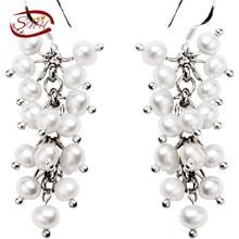 Snh 2017 niza de las mujeres joyería de la perla natural 925 de plata esterlina pendientes de plata