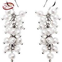 Snh оборванных женщин натуральный Пресноводные Настоящее 925 серебро жемчуг ювелирные серебряные серьги