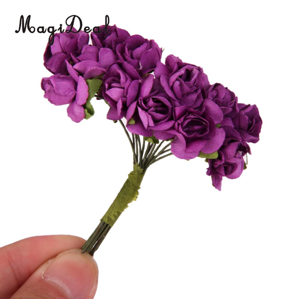 Magideal lovely 144pcslot artificial paper rose flower buds mini magideal lovely 144pcslot artificial paper rose flower buds mini bouquet diy craft for wedding izmirmasajfo