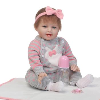 55CM Simulation dolls Soft Body Silicone Reborn Dolls with Pacifier Baby Girl Sleep toys Bonecas Gray