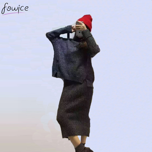 Nova Moda 2 Peças Cinza Sólido Roxo Gola Mulheres Inverno Solta Camisola de Lã Tops Conjunto Elasticidade Lápis Saia Terno Feminino