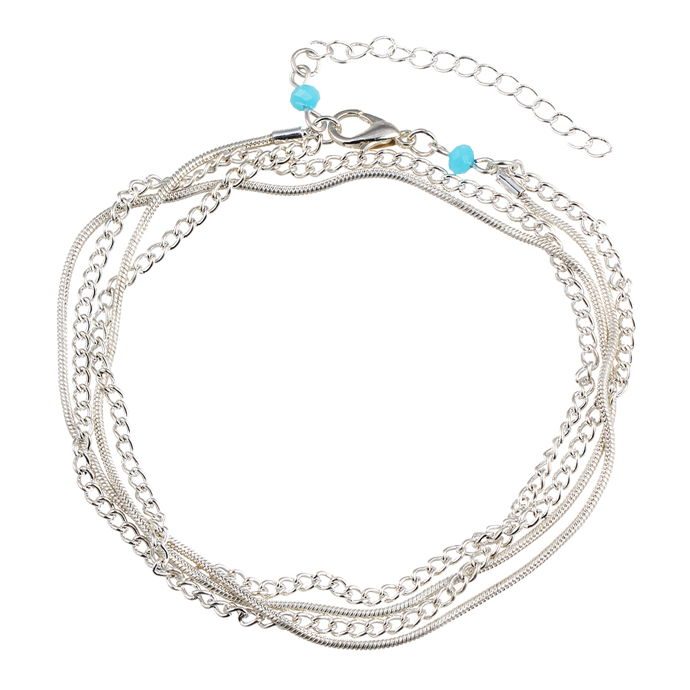 Fashion Multilayer Silver Color Tassel Chain Anklet Bohemian Summer Beach Foot Snake Chain Ankle Bracelet Women Cheville Jewelry