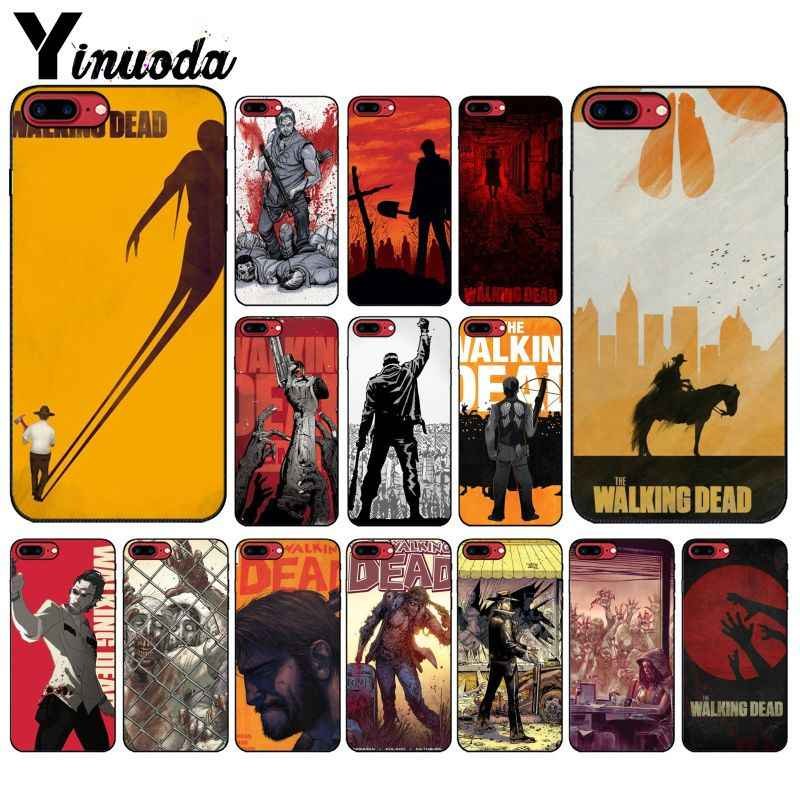 Yinuoda Comic The Walking Dead Black Soft Shell Phone Cover for iPhone 5 5Sx 6 7 7plus 8 8Plus X XS MAX XR