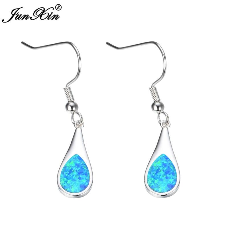 JUNXIN Elegant White Fire Opal Drop Earrings Women Oval Tear Hanging Earrings Silver Color Wedding Jewelry