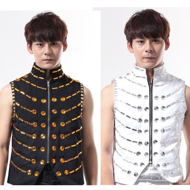 Customized Plus Size S-4XL Men Vest Jackets Male Singer Dj Shirt Punk Outerwear Top Ds Rhinestone Vests Ds Stage Wear Costume