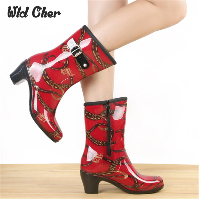 Hot Selling womens Lady Fashion Rain Boots Mid Rain Boots Square High Heel Rain Shoes Boots 2017 New High Quality Designed