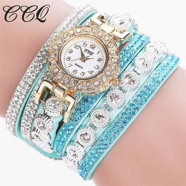 Fashion Casual Rhinestone Watch Dress Ladies Bracelet Watch Analog Quartz Metal