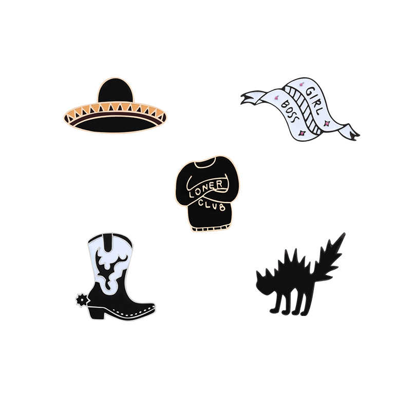 049dc16e3f2 Fashion Black Hat Clothes Pin Brooch Collar Jackets Lady Jewelry Badges  Brooches Lapel pin Enamel pin