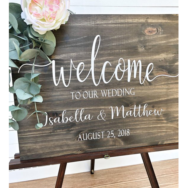Wedding Welcome Sign.Us 29 99 Custom Wedding Welcome Sign Wood Rustic Welcome Sign With Bride Groom Names Welcome Sign Wood Personalized Wedding Sign In Party