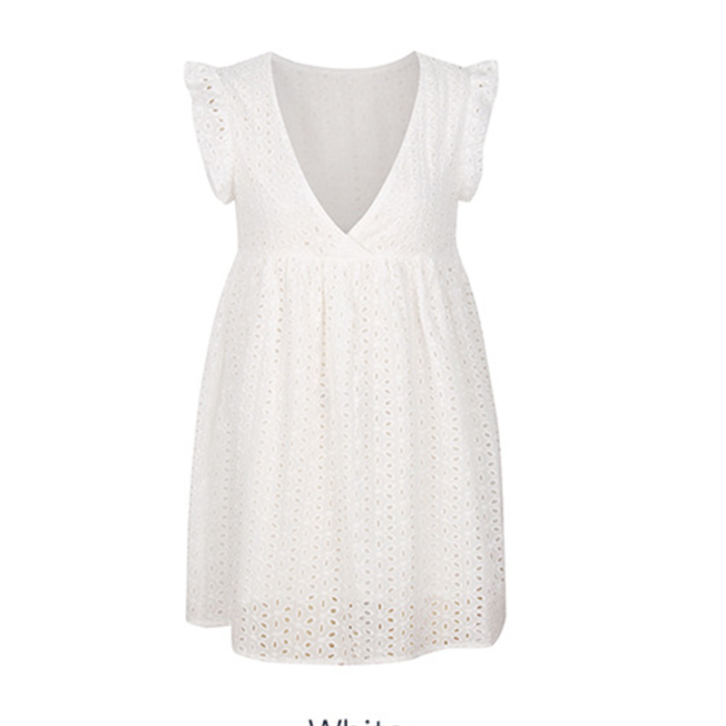 WHOSONG Elegant Lace Hollow Out Women Dress Ruffles Pleated Cotton White Short Dresses Casual Sexy V Neck Holiday Mini dress in Dresses from Women 39 s Clothing