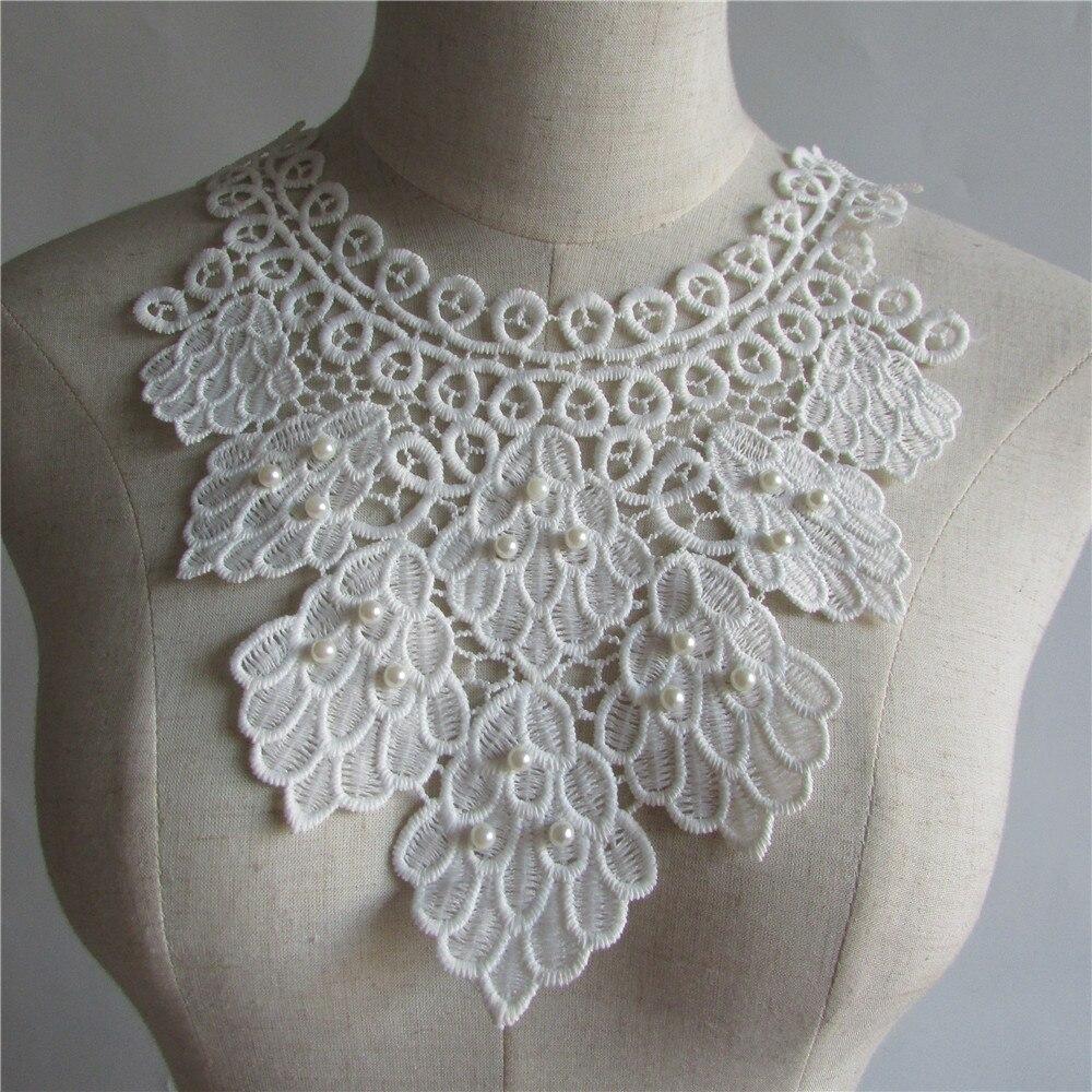 Alta qualidade branco pérola bordado colar de renda diy roupas costura acessórios artesanato 1 pçs vender frete grátis