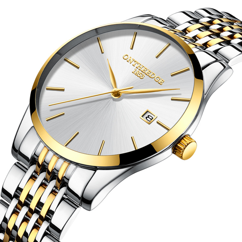 ONTHEEDGE brand luxury mens wristwatches 316L stainless steel gold white black 30m waterproof calendar casual man watches quartz