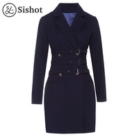 Sishot Women Vintage Dresses 2017 Autumn Winter Spring Dark Blue Double Breasted Knee Length Long Sleeve
