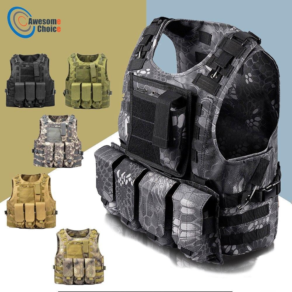 Tactical Vest Amphibious Battle Military Molle Waistcoat Combat Assault Plate Carrier Vest Hunting Protection Vest Camouflage