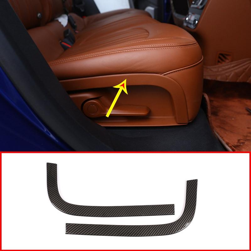 2pcs Carbon Fiber For Maserati Levante Car ABS Rear Row Seat Decoration Strips Trims Auto Accessoreis