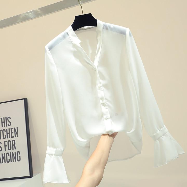 Maglia Chiffon 2019 Molla Diamante Donne Camicia Bianco pezzo Maniche Fionda collo Della Femme V Due Set Signora Corno Coreane Camicetta Di Nuovo A qw7px6