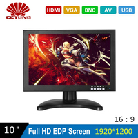 10inch EDP 1920X1200 Monitor with Metal Shell & HDMI VGA AV BNC Connector for PC Multimedia Microscope Industrial Machine Screen