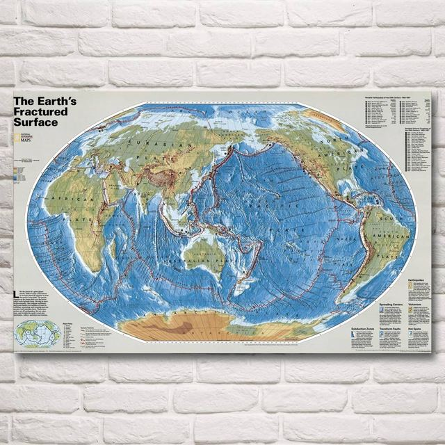 World map national geographic art silk fabric poster prints 12x19 world map national geographic art silk fabric poster prints 12x19 15x24 19x30 22x35 inch wall home gumiabroncs Choice Image