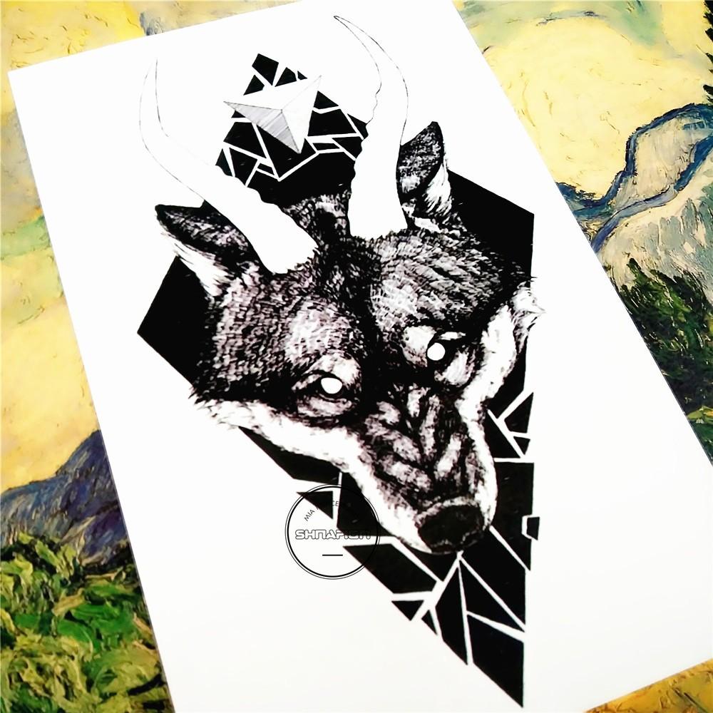 Nu-TATY Black Thorn Wolf Temporary Tattoo Body Art Flash Tattoo Car Styling Sticker 12*cm Waterproof Henna Glass Wall Sticker 2