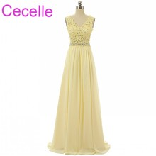 Yellow Chiffon Long Prom Dress – Custom Made