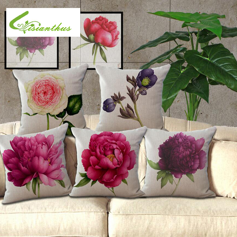 Luxury Printed Dyeing Peony Pillow Case Throw Cushion Cover Sofa Bed Home Decor