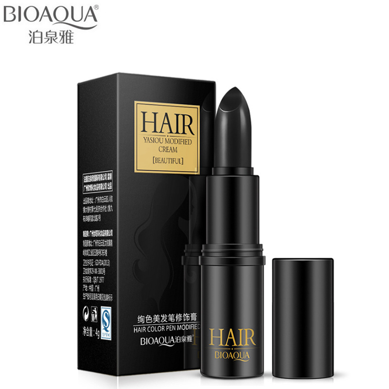 BIOAQUA Brand Black Brown Temporary Hair Dye Cream Mild Fast One-off Hair Color Pen Cover White Hair DIY Styling Makeup Stick image